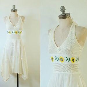 vintage sunflower dress   vintage 1970s boho dress
